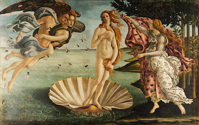 La venere di Botticelli, ospitata negli Uffizi di Firenze